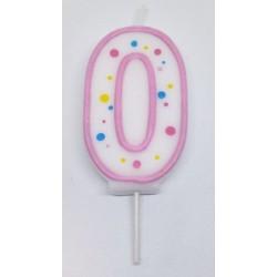 Svíčka PME číslo 0 - růžová (6cm)