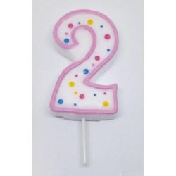 Svíčka PME číslo 2 - růžová (6cm)