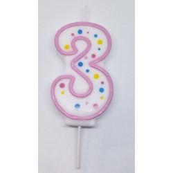 Svíčka PME číslo 3 - růžová (6cm)