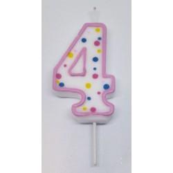 Svíčka PME číslo 4 - růžová (6cm)