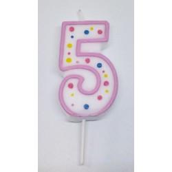 Svíčka PME číslo 5 - růžová (6cm)