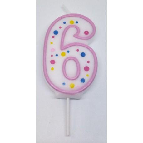 Svíčka PME číslo 6 - růžová (6cm)