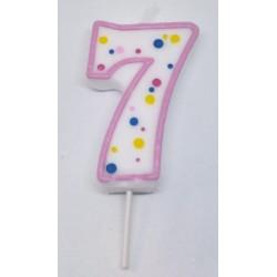Svíčka PME číslo 7 - růžová (6cm)
