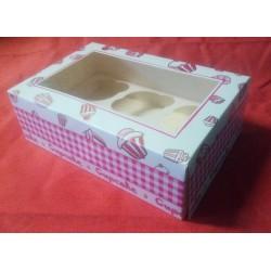 Krabička na muffiny bílo-růžová s cupcakes (na 6 ks)