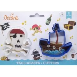 Decora vykrajovátko Lebka a pirátská loď (2 ks)