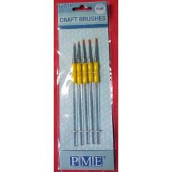 Štětce k nanášení barev - 5 ks tenké (PME)