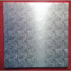 Kartonová dortová podložka silná - stříbrná (30x30)