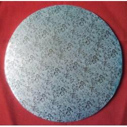 Kartonová dortová podložka silná - stříbrná (Ø40,5cm)