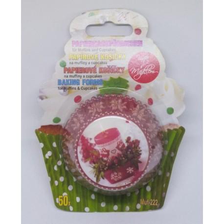 Alvarak košíčky na muffiny Červené se svíčkou a vločkami (50 ks)