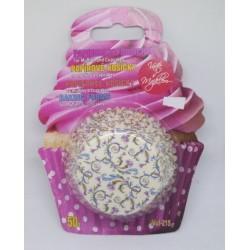 Alvarak košíčky na muffiny Béžové s květinami a spirálami (50 ks)